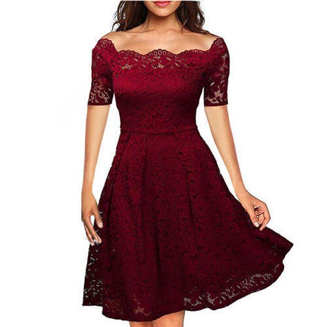 Společenské krajkové šaty - Červená2-velikost č. 3 1