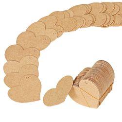 100 kusů visaček na dárky ve tvaru srdce