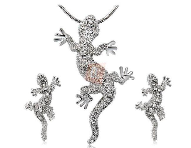 Elegantní set - náhrdelník a náušnice s motivem ještěrky 1