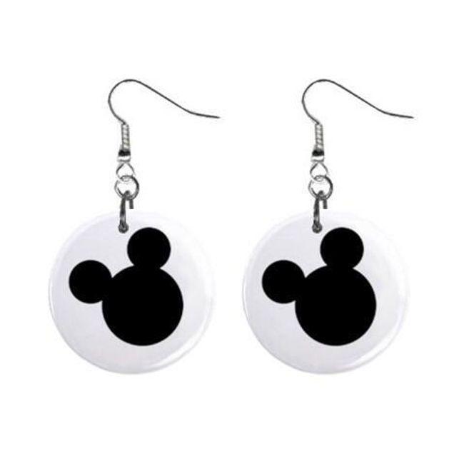Круглые плоские серьги- Mickey Mouse 1