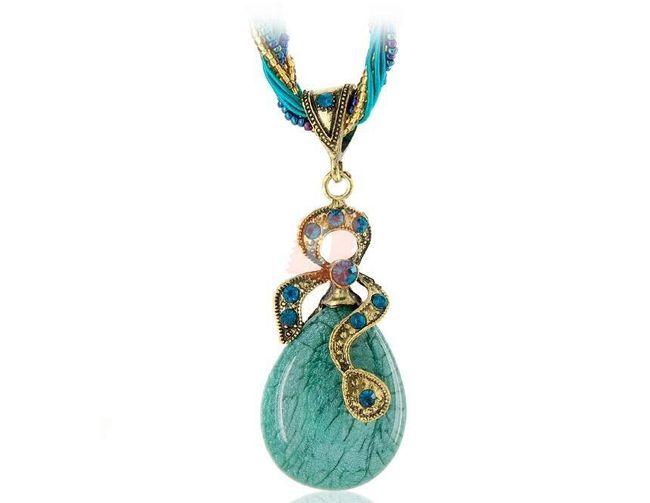 Retro náhrdelník s kapkou - modrý 1
