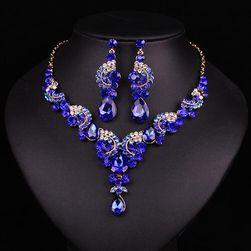Luxus nyaklánc és fülbevaló kövekkel - színes mix