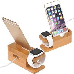 Dřevěný držák pro Apple hodinky a iPhone