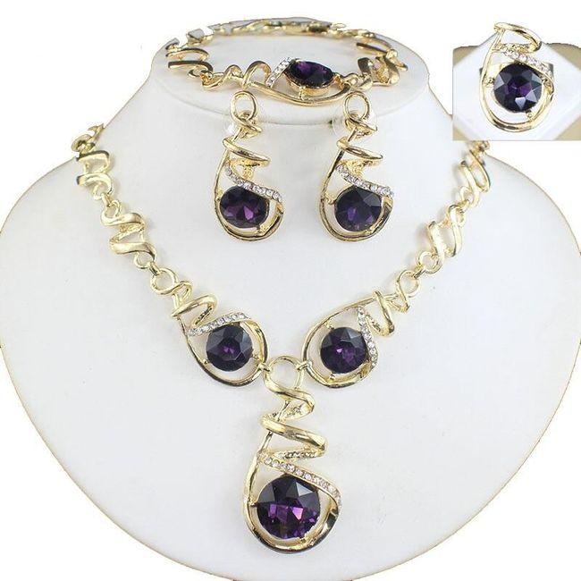 Sada spirálovitých šperků s fialovým kamínkem 1