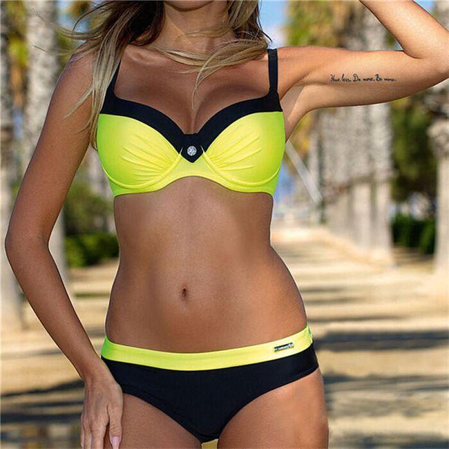 Dámské moderní bikini s push up efektem - žlutá, velikost 2 1