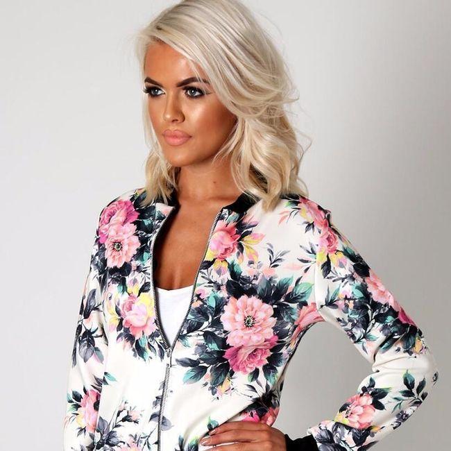 Ležerna ženska jakna s cvetličnim vzorcem 1