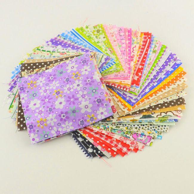 Čtvercová látka s barevným vzorem na šití - 30 různobarevných kusů 1