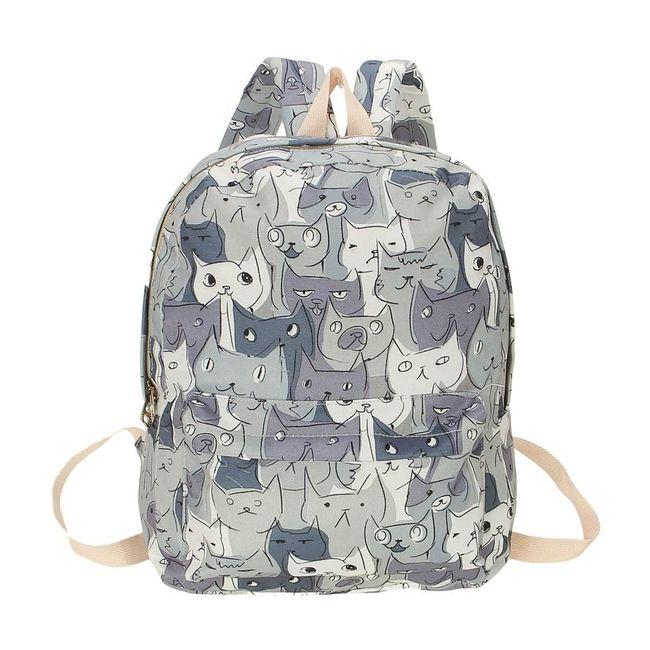 Plátěný batoh s motivem kreslených kočiček - 4 barvy 1