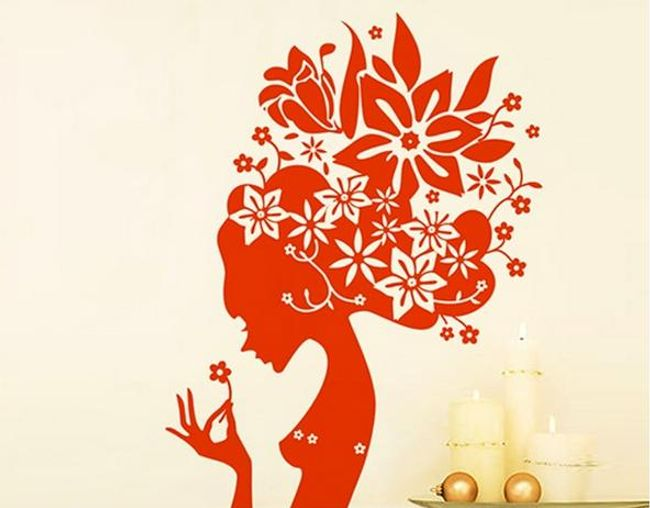 Samolepka na zeď - květinová dívka 1