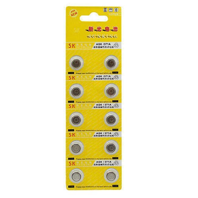 10ks Alkalická knoflíková baterie AG6/371A 1