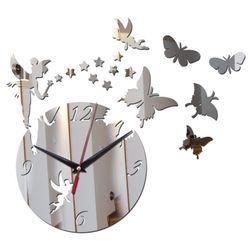 Zegar lustrzany z motylami - 3 kolory