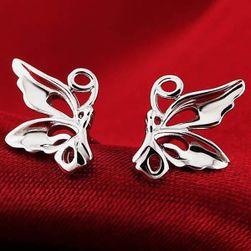 Minđuše u obliku leptira u srebrnoj boji