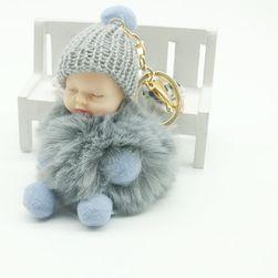 Breloc pufos - Bebeluș dormind - culoare gri