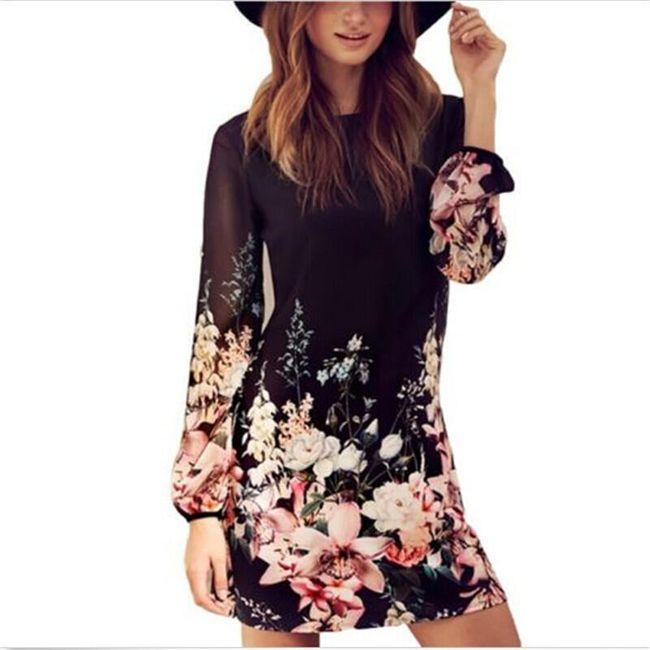 Lehké květinové šaty s dlouhým rukávem 1
