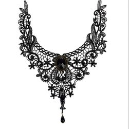 Čierny krajkovaná náhrdelník