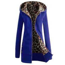 Leopar astarlı bayan sonbahar sweatshirt Paola Mavi-beden 2