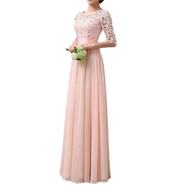 Dlouhé společenské šaty - Růžová-velikost č. 7 1
