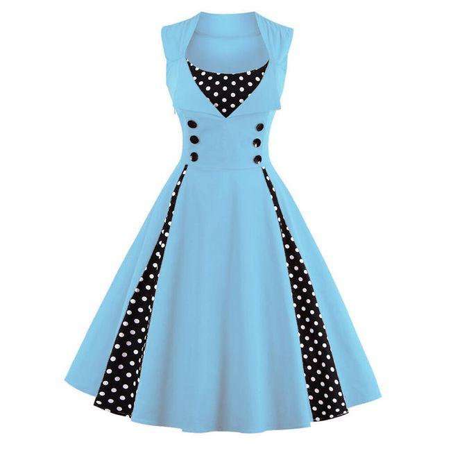 Retro šaty s puntíky - světle modré - velikost č. 5 1