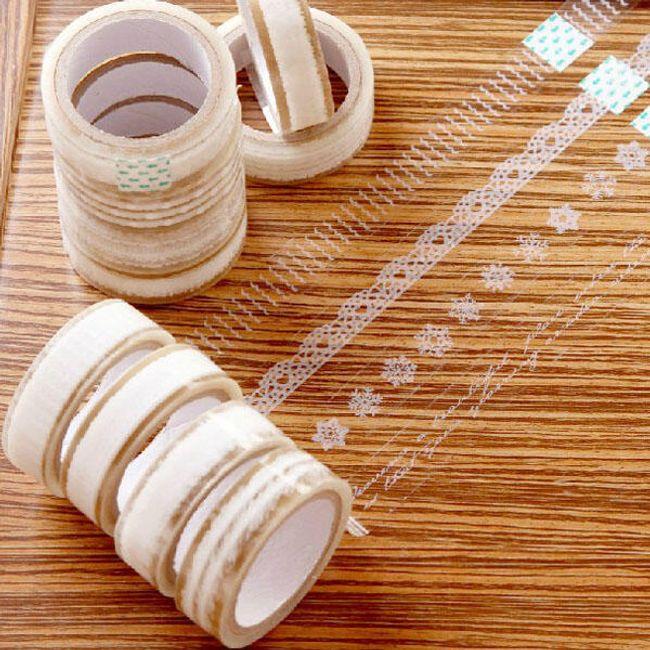 Прозрачная клейкая лента с белыми кружевными мотивами 1