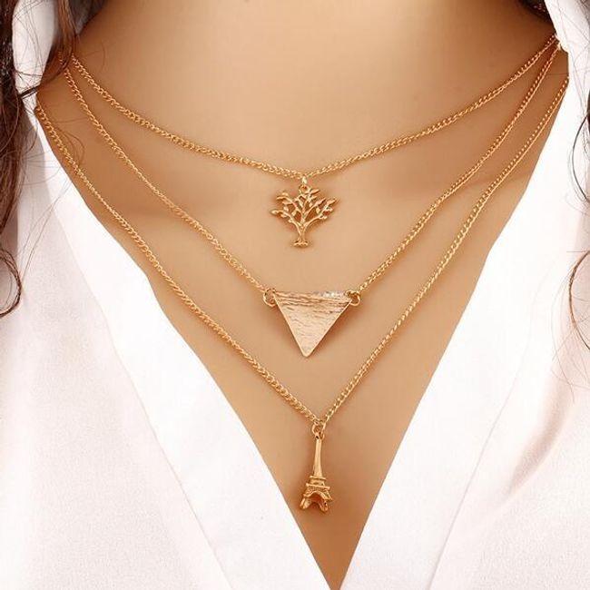 Večplastna ogrlica z elegantnimi obeski 1