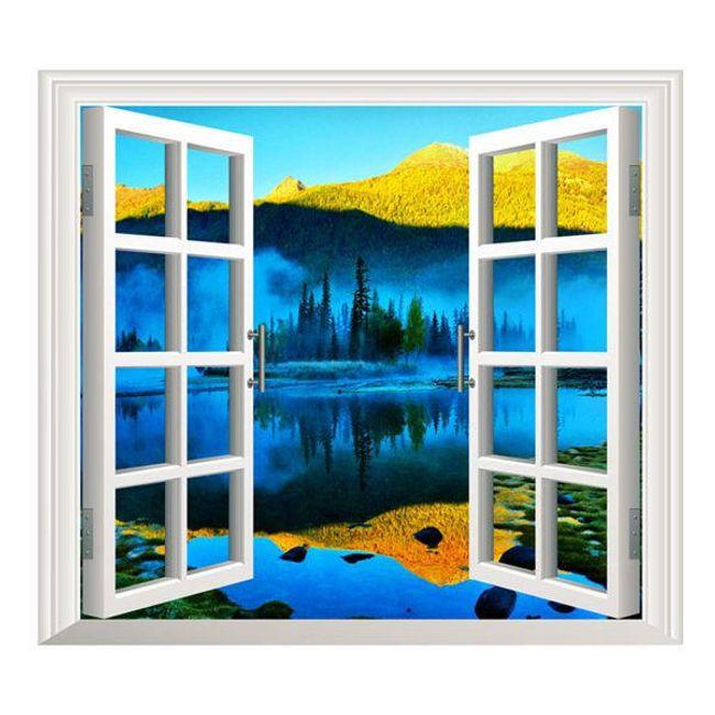 Fal dekoráció - hegyre néző ablak 1