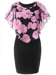 Sukienka damska Ericka w dużych rozmiarach-Jasnoróżowy-XL/2XL