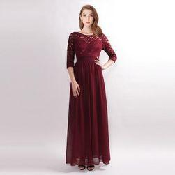 Dámské plesové šaty s krajkovým topem - Modrá-20
