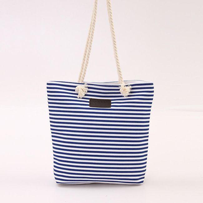 Pruhovaná taška s lanovými uchy - 4 barvy 1