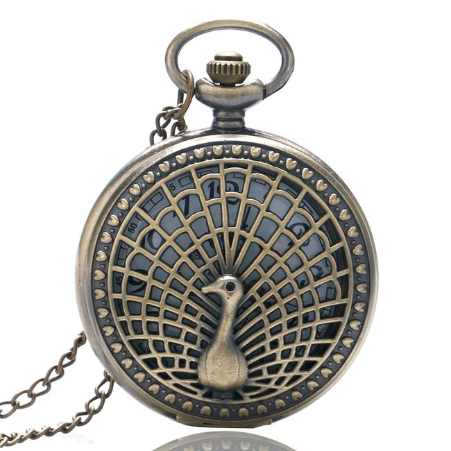Retro kapesní hodinky s motivem páva 1
