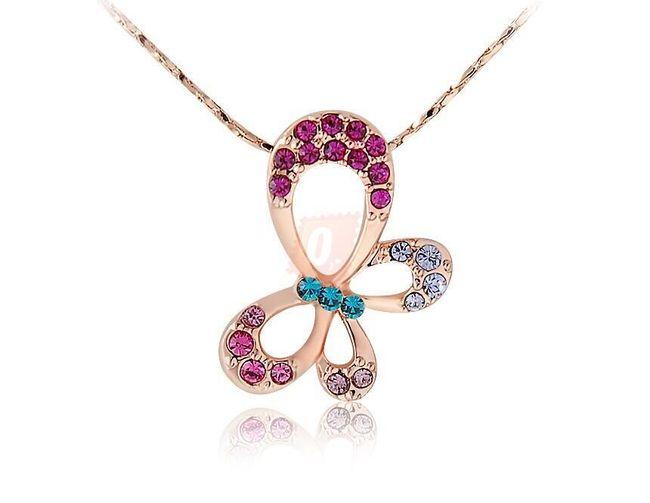 Náhrdelník s motýlkem a barevnými kamínky - zlatá barva 1