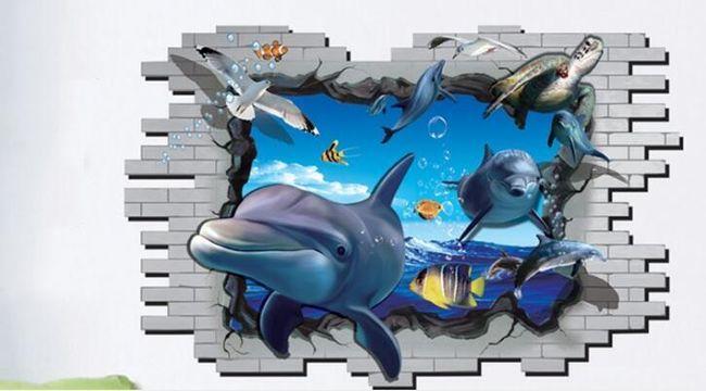 3D stenska nalepka - delfini 1
