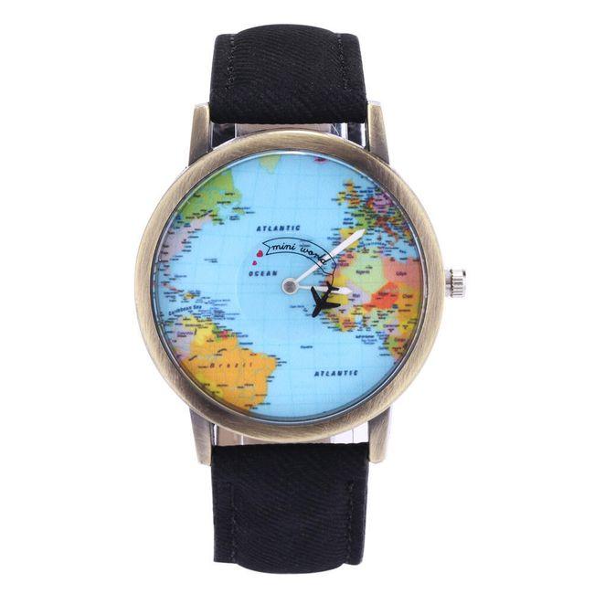 Наручные часы с картой и самолетиком- разные расцветки 1