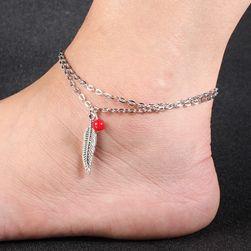 Bransoletka na nogę z piórkiem - 2 kolory