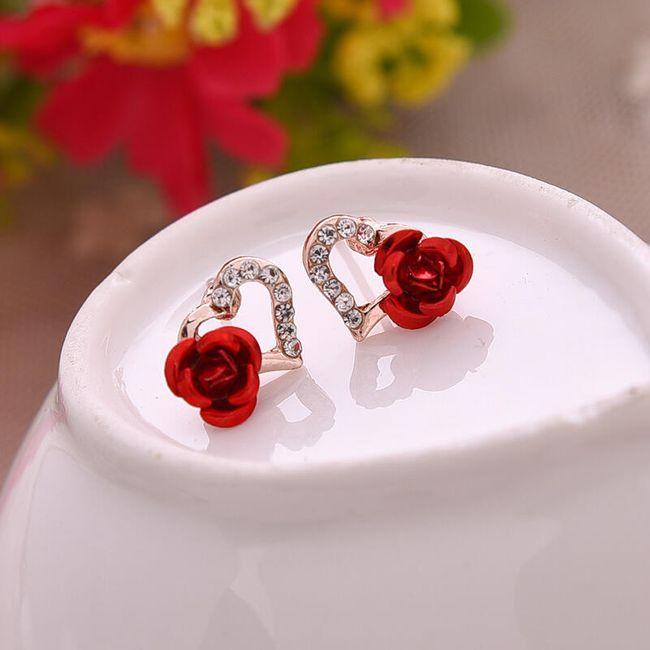 Minđuše u obliku srca sa ružom - 3 varijante 1