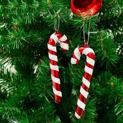 Vánoční dekorace ve tvaru vánoční  hůlky - 6 kusů