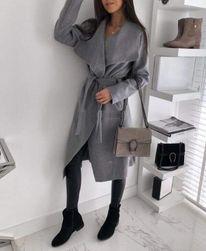 Dámský flaušový kabát - šedý