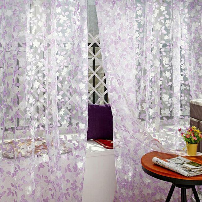 Zavesa z romantičnimi listi - 3 barve 1