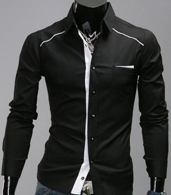 Koszula męska - kolory czarny i biały 1