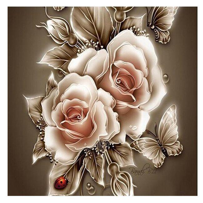 DIY obraz z kamínků - květy růže s motýly 1