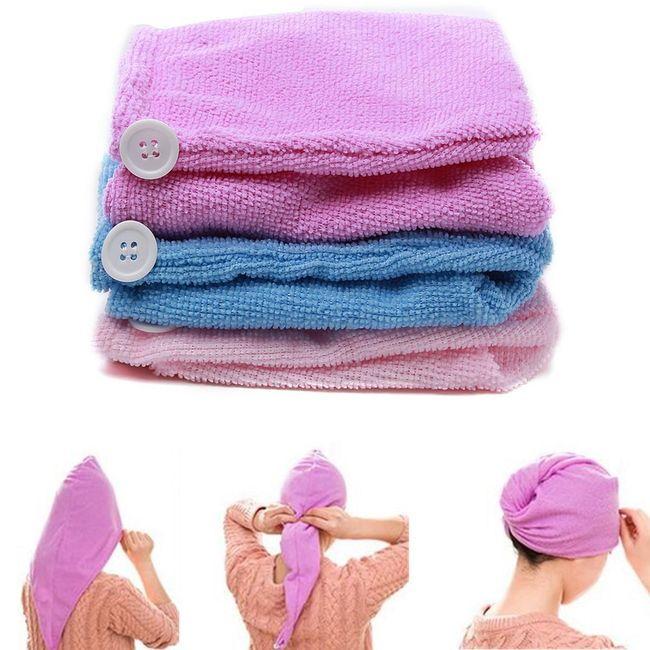 Високо абсорбираща микрофибърна кърпа за коса - лилаво 1