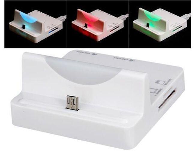 Wielofunkcyjna stacja dokująca z kolorowym LED światłem i czytnik kart do telefonów komórkowych Samsung 1