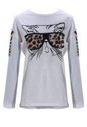 Dámské tričko s kočičkou a dlouhými rukávy