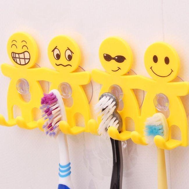 Suport pentru periuța dinți cu motiv emoticon - 4 variante 1