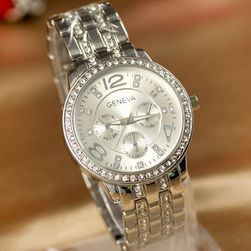 Luksusowy zegarek GENEVA z przezroczystymi kamyczkami