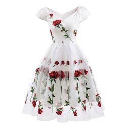 Elegantna obleka z vrtnicami