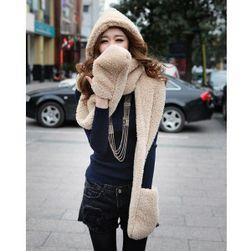 Damski stylowy szalik 3w1 - szalik, czapka i rękawiczki