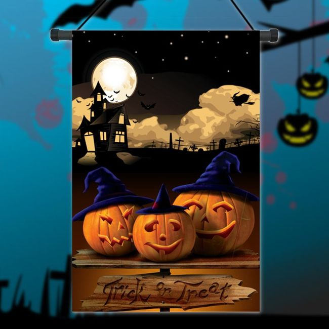 Флаг на Хеллоуин- Тыквы в ведьминых колпаках- 30х45 см. 1