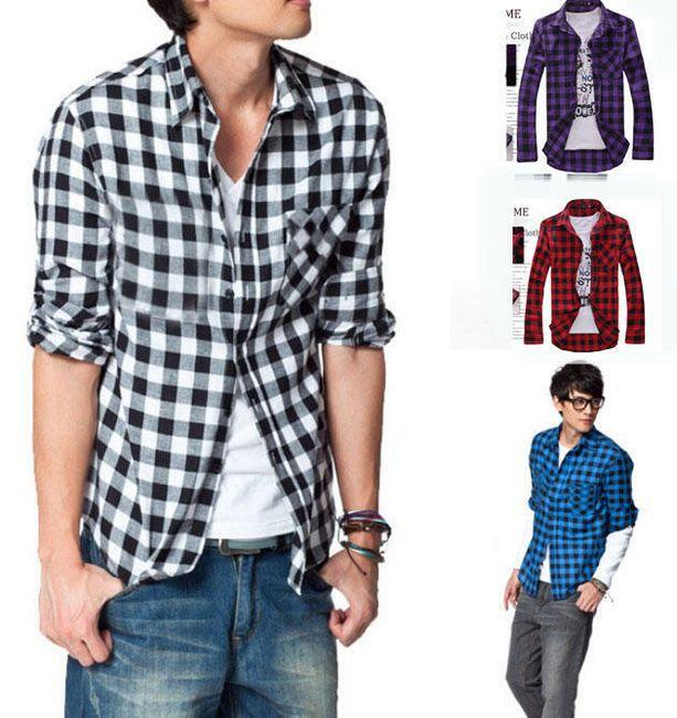 Pánská košile s kostkami - 4 barvy 1