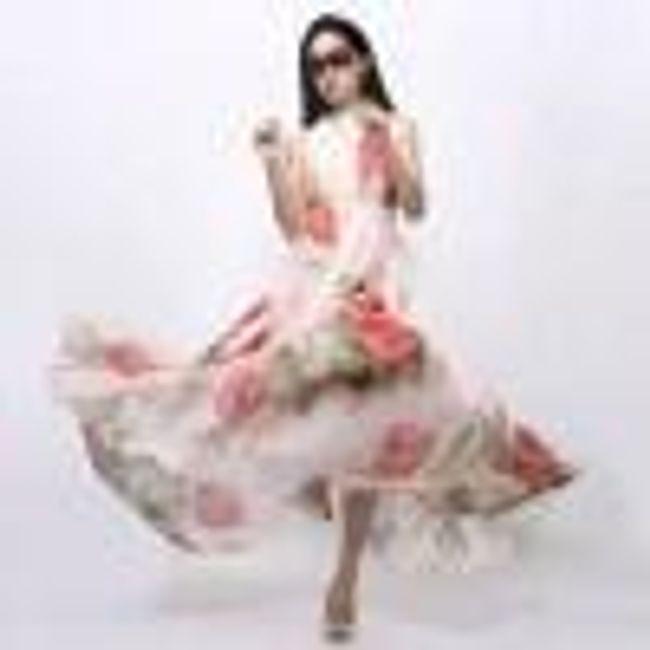 Květované dlouhé šaty na léto - Velikost č. 4 1