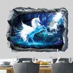 3Д стикер за стена - Еднорог в лагуната